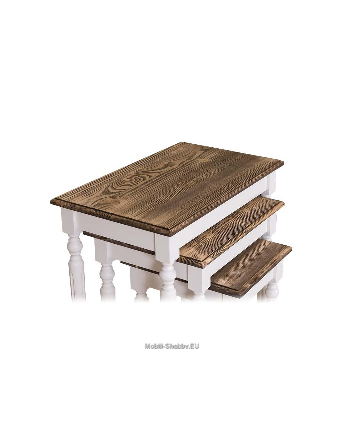 Set tavoli da divano in legno massello ms80 orissa milano - Mobili in legno sbiancato ...