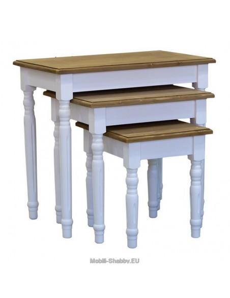 Set tavolino da divano in legno massello