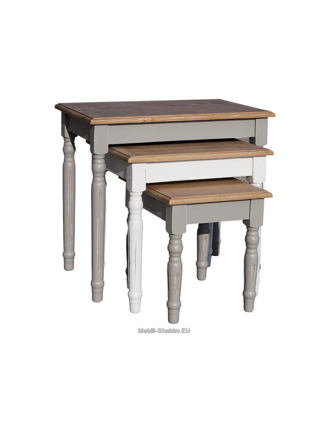 Set tavoli da divano in legno massello ms80 mobili for Tavolino da divano
