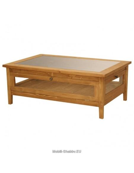Tavolo basso con piano in vetro 120cm