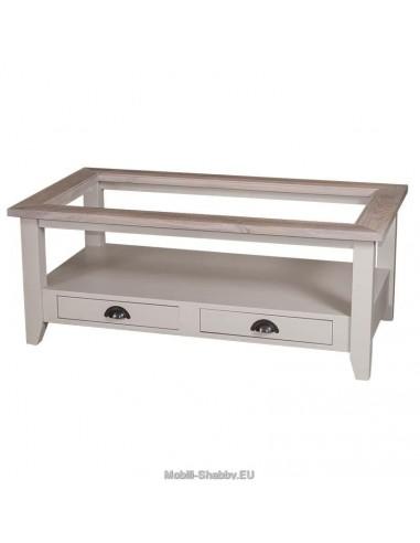 Tavolo basso con piano in vetro e cassetti 120cm