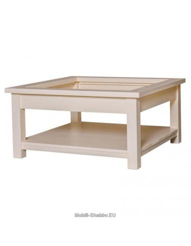 Tavolo basso con piano in vetro 90cm