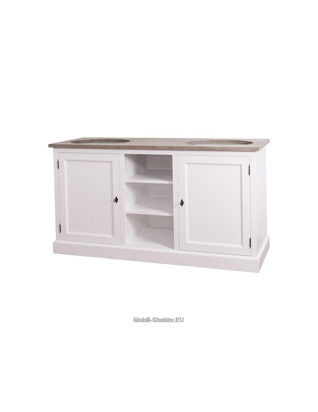 Mobile bagno doppio lavabo legno massello colorato ms627b - Mobile lavabo cucina ...