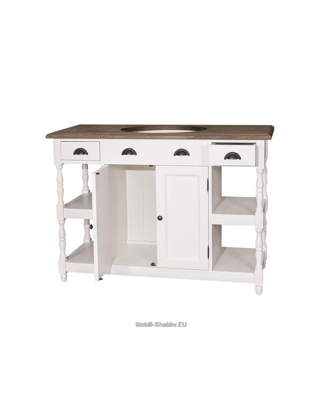 Mobile bagno shabby chic ante e cassetti ms545 mobili for Mobili shabby chic