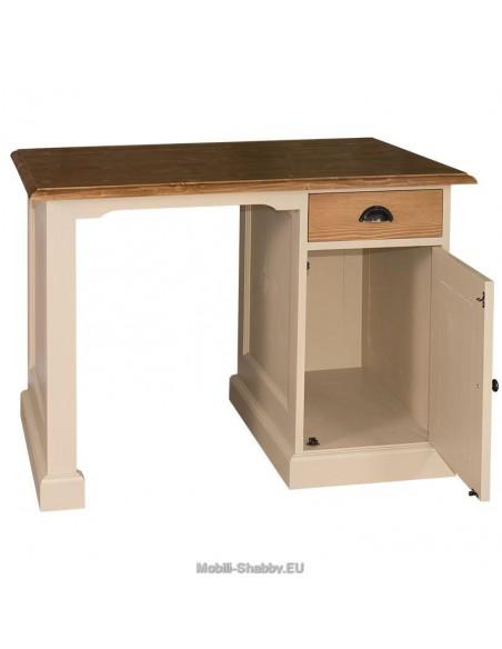 Scrivania legno massello cassetto e anta 110cm