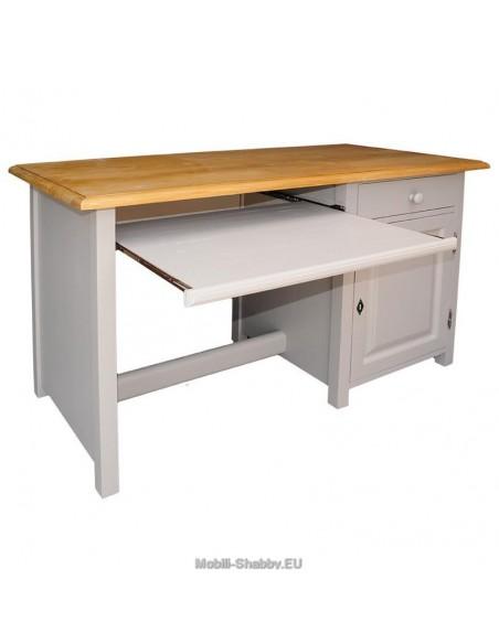 Scrivania legno massello cassetto e anta 130x60cm