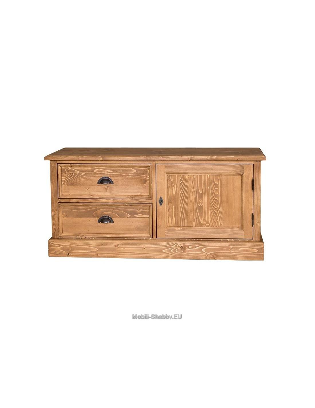 Credenza porta tv legno massello colorata ms111 orissa for Credenza colorata