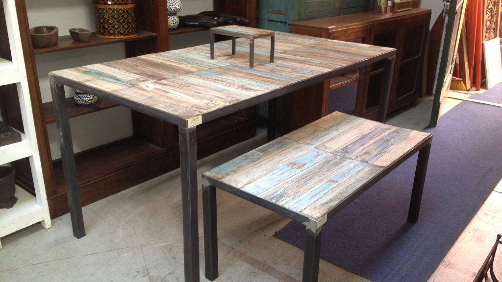 recycled industrial table