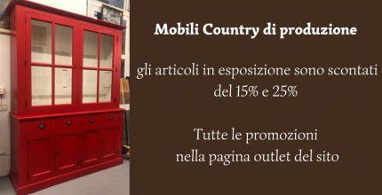 Sconto 15% sui mobili country in esposizione